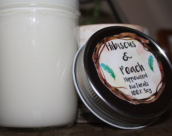 8 ounce Hibiscus & Peach Hand-Poured 100% Soy Wax Candle with Cotton Wick