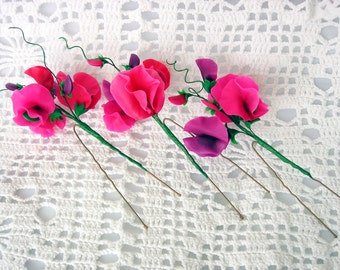 """Set: Hair pins """"Sweet pea"""" made of air dry polymer clay (3 items)"""