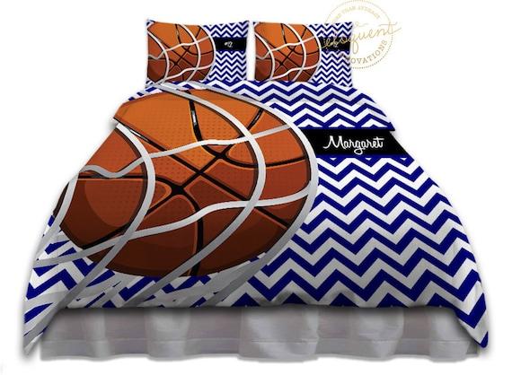Housse de couette basket literie chevron bleu couette for Housse de couette basket ball