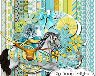 Carousel Digital Scrapbook Kit in Turquoise, Gold, Green for Card Making, Web Design, Crafts, Teacher Projects, Instant Download