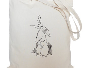 Tote bag/ drawstring bag/ drawing of a rabbit/ cotton bag/ material shopping bag/ shoe bag/ nursery