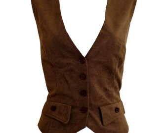 Vintage Suede Waistcoat 90s Vegan Faux Soft Brown Size Small