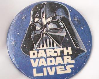 Vintage Star Wars Button Darth Vadar Lives Star Wars A New Hope Memorabilia 1977 Ephemera