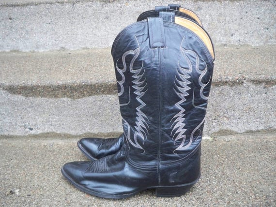 Boots Nocona Men's Black On Riding Cowboy Vintage Size USA Made Leather Pull Wide Western 10 in R1cwwHWzq