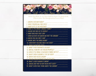 How Well Do you know Your Bride Bridal Shower Game Printable Game Bridal Game Floral Bridal Game Flower Bridal Game Navy Floral Gold Glitter