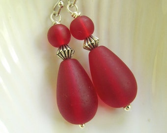 Red Sea Glass Earrings, Teardrop, Red Frosted Glass, Red Jewelry, Sea Glass Jewelry, Nautical, Beach Earrings, Redpeonycreations