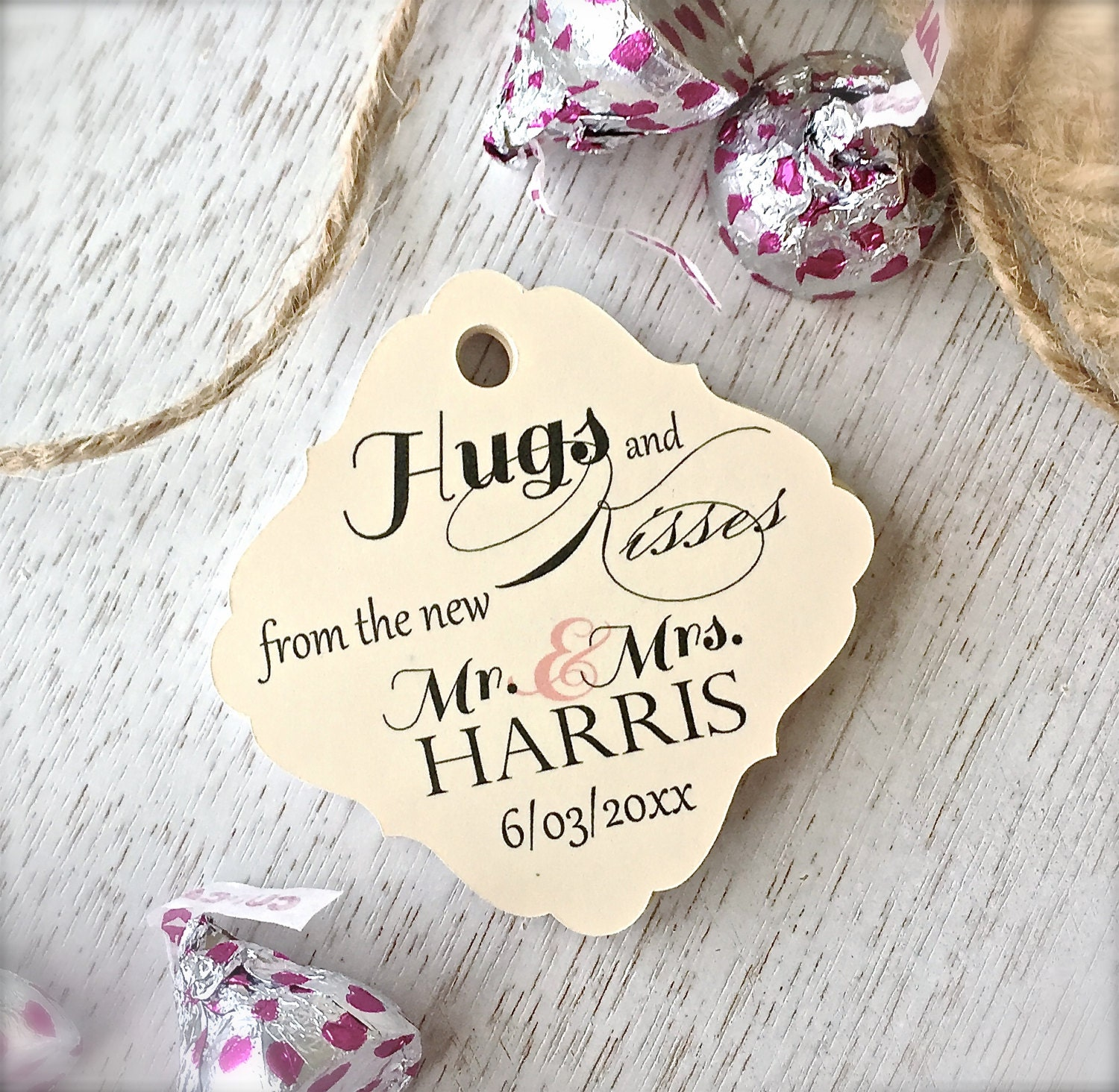Kisses favor tags favor tags wedding favor tags hugs and