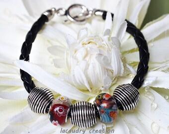 Bracelet minimaliste homme, bracelet cordon tressé noir, perle millefiori, métal argenté, cadeau noel, bracelet chic, idée cadeau noel homme