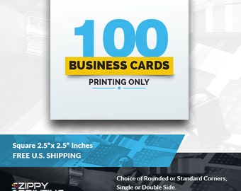 """100 Square Business Cards 2.5"""",Business Cards Printing Rounded Corners, Matte or Glossy"""