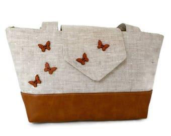 BUTTERFLIES - Pure Linen Purse - Engraved Wooden Butterflies - Vegan - Butterfly Shoulder Bag