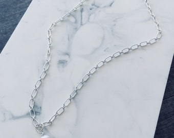 Sterling Silver Choker with a Gray Freshwater Pearl