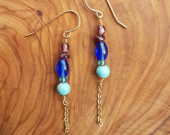 Blue elegant Earrings, Blue Earrings, Gold Earrings, Gold Boho Earrings, Women's Earrings, Best friend Gift, Dangling Earrings, gift for mom