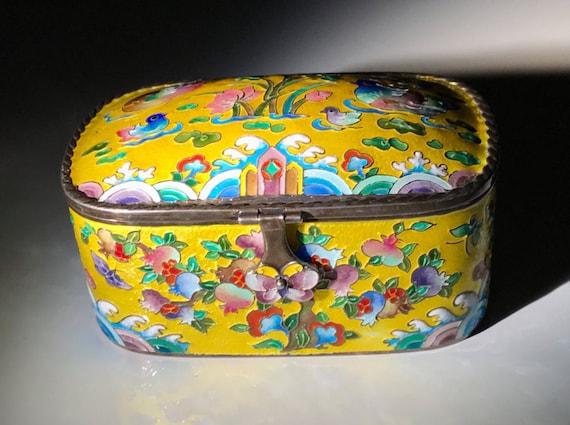 999 Silver Korean Silver Jewelry Box Yellow Vitreous Enamel AG99 Sterling - Wedding Ring Box