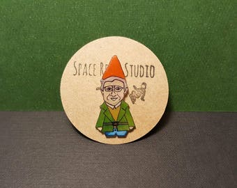 GNOME CHOMSKY PIN ~ Brooch ~ Badge ~ Activist Badge ~ Noam Chomsky Jewelry ~ Hand Drawn