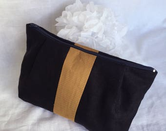 Carla pouch in linen and viscose