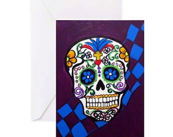 Sugar Skull #2 - 4 Greeting Cards By Artist A.V.Apostle
