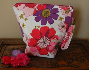 Pink and Purple Florals, Knitting Project bag, Medium