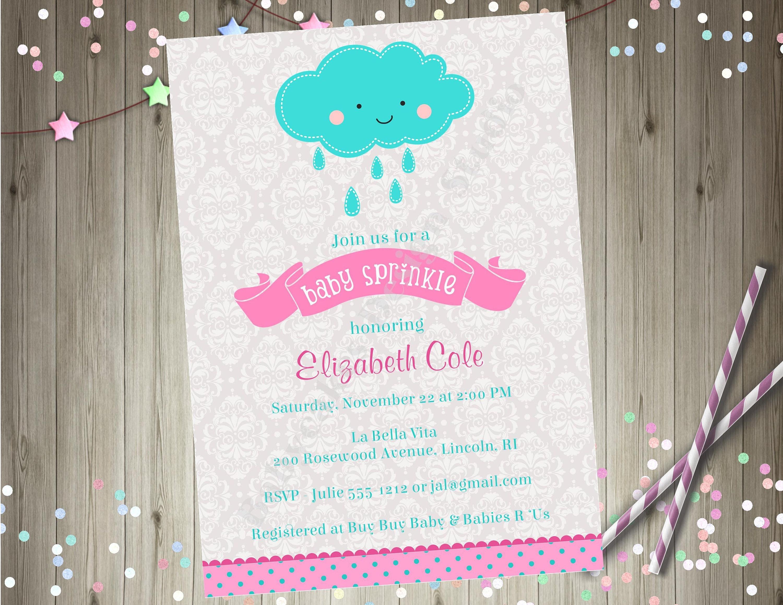 Baby Sprinkle Invitation Baby Shower invitation invite rain