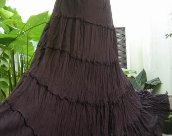 Ariel on Earth - Boho Gypsy Long Tiered Ruffle Cotton Skirt - Choc Brown