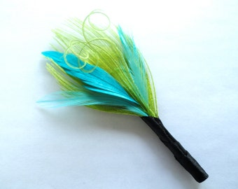 GEORGE in Lime Green and Turquoise Peacock Feather Boutonniere