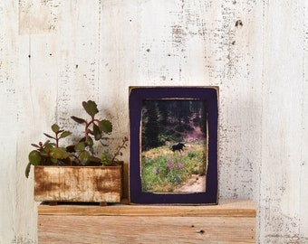 5x7 inch Picture Frame in 1x1 Flat Style with Super Vintage Deep Purple Finish - IN STOCK - Same Day Shipping - 5 x 7 Photo Frame Violet