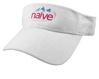 Naive Evian Parody Humorous Typographic Header Embroidery Design on an Adjustable White Visor Cap Summer Hat