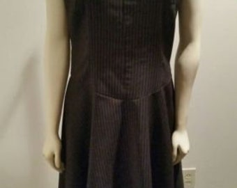 Morbid Threads black and pink pinstripe party dress with crinoline  VLV goth dead stock *Free Shipping*