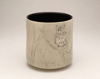Owl and Full Moon- winter woods cup-mug- Ruchika Madan