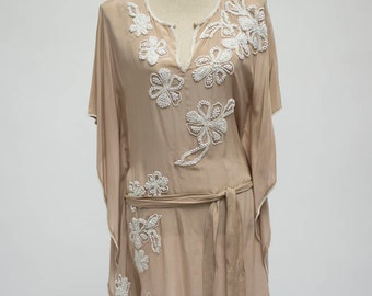 Gold Hawk Silk Tunic with White Beading Detail