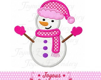 Instant Download Girl Snowman Applique Embroidery Design NO:1586