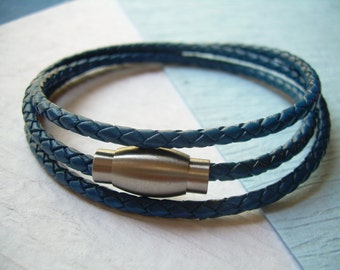Blue Braided Triple Wrap Leather Bracelet with Stainless Steel Magnetic Clasp , Mens Bracelet, Mens Jewelry, Jewelry, Womens Jewelry,