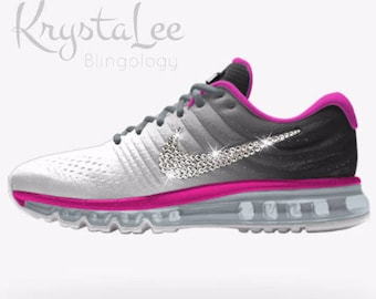 Womens Nike Air Max 2017 iD White Grey Fire Pink Black Custom Bling Crystal  Swarovski Sneakers