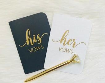 Vow books, wedding vows keepsake, Gold Vow Books, Set of Vow Books, Wedding Vow Book, Custom vow books, Personalized, Diamond pen