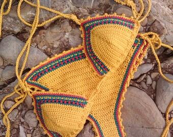 crochet bikini Jamaican 1 Bikini Crochet Swimwear rasta Crochet bikini crochet bikini rasta crochet swimsuit crochet beachwear String bikini
