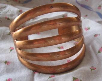 Extraordinary Wide Split Shank Open Cut Solid Copper Cuff Bracelet