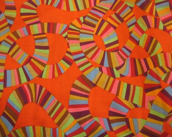 SALE - 2 yds. Roller Coaster on orange by Brandon Mabley for the Kaffe Collective