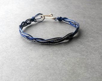 Brass & navy blue colored copper Braided Wire Bracelet with a Twist Handmade, Custom Made, Your Size, Birthday