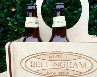 Wood 6-Pack with Custom Logo, Home Brew Gift, Custom Beer Gift, Craft Beer, Beer Geek Gift. Drink Local