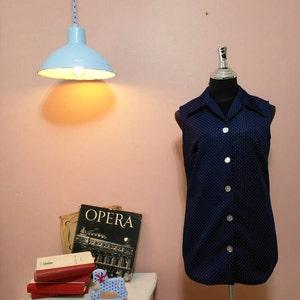 Vest Blouse.Women Dots Blouse.Womens Vest.70's Vest.Vintage Blouse.1970 Jacket.Retro. Blue DotsVintage Blouse For Women 1970's Size M