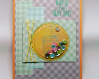 All occassion handcrafted shaker greeting card with envelope