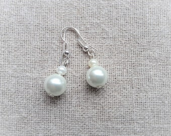 White bridal earrings Pearl Earrings white earrings wedding earrings white