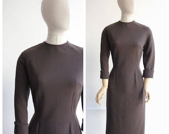 Vintage 1950's Brown Wiggle Dress Fifties original wiggle dress brown pencil dress 50's 1950's revival midcentury day dress office UK 10-12