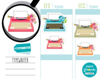 Typewriter stickers vintage typewriter with flowers typewriter tracking sticker letter tracker removable sticker for kikki k filofax S131-TY