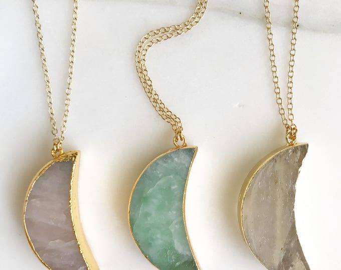Long Stone Moon Necklace. Long Boho Necklace. Long Gold Gemstone Necklace. Creacent Moon Necklace. Unique Jewelry. Christmas Gift. Pendant.