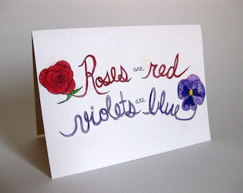 Valentine's Day Singles Poem Card - Handmade and printed from original ink and gouache illustration