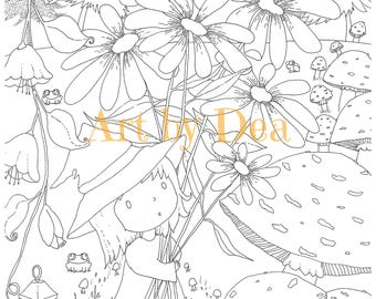 PENELOPES GARDEN Color The Cover Pad Digital Download PDF Instant Coloring