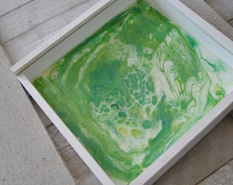 Decorative box, gift box, green and white with clear sliding lid