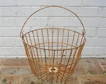Antique Vintage Metal Basket Antique Primitive Basket With Metal Handle Old Farmhouse Basket Egg Basket