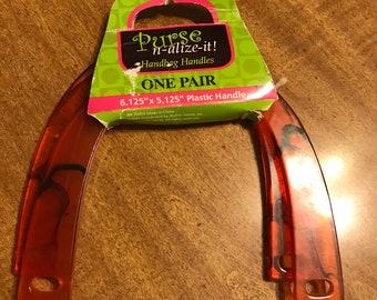 """Purse-N-Alize-It Tortoiseshell Handbag Handles, One Pair, 6.125"""" x 5.125"""", Plastic"""