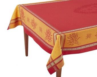 Senanque Rouge/Orange French Jacquard Tablecloth